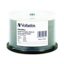 Verbatim DVD+R DataLifePlus 4.7GB 8X White Inkjet 50-Pack Spindle