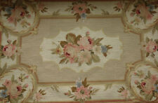 2' X 3' Vintage Hand Woven Needlepoint Rug PASTEL BEIGE IVORY Aubusson Design