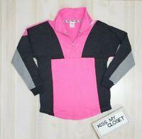 Victoria's Secret PINK Sweatshirt Small Varsity Half Zip Pullover Gray Pink VS