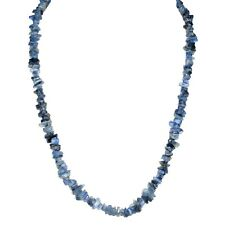 """CHARGED Blue Kyanite Crystal Chip 18"""" Necklace + Baby Selenite Puffy Heart"""