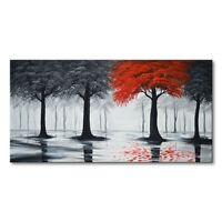 Hand Painted Abstract Canvas Landscape Oil Painting Wall Art Framed Home Decor