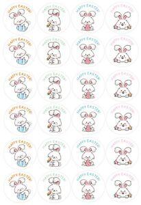 Happy Easter stickers, set of 96, vinyl, easter bunny & eggs design
