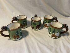 Bico Woodland Coffee Cup Mug Set Moose Bear Cabin Lodge Theme