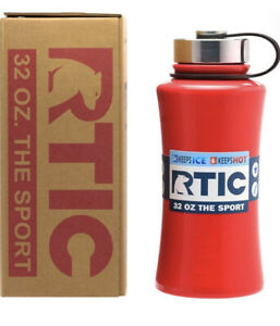 Red RTIC 32oz The Sport Water Bottle Wide Mouth Stainless Steel Christmas Gift