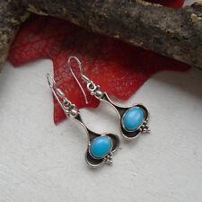 Mohave Türkis, blau, edel schlicht, Ohrringe, Ohrhänger, 925 Sterling Silber neu
