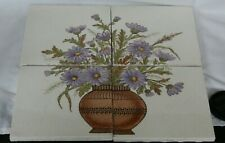 FOUR PIECE TILE PANEL MINTON AESTHETIC DESIGN FLOWERS IN LARGE POT
