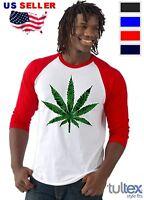 Marijuana Weed Leaf Baseball Raglan T-Shirt Cannabis Kush Stoner Bob Marley 420