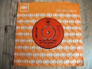 "BOB DYLAN, CAN YOU PLEASE CRAWL OUT YOUR WINDOW, 1966 UK CBS 7"" SINGLE, FOLK, EX"