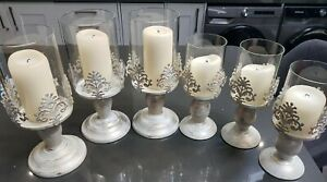 PILLAR CANDLE HOLDER GLASS DOME HOLDER Wedding/ Christmas x6 including candles