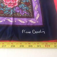 "Pierre Cardin paris Vintage Silk Scarf Floral pattern Multi-Color 33""x33"""