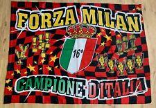 BANDIERA MILAN CAMPIONE D'ITALIA 16° SCUDETTO ROSSONERA CALCIO cm 100 x 130.