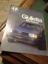 DEPLIAN AUTO VINTAGE ALFA ROMEO GIULIETTA 1.3 1.6 ITALIANO 8 PAG. DATI TECNICI