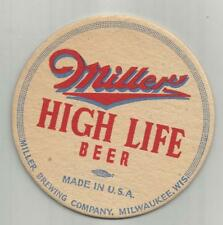 """1940's Miller High Life Beer Coaster=Milwaukee, Wi 4"""" #009 Made In The Usa"""