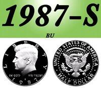 1987-S KENNEDY BRIGHT CLEAR UNCIRCULATED DCAM HALF DOLLAR.===BU===C/N==