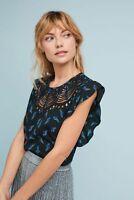 Anthropologie Ranna Gill fluttered cutwork bird blouse top M birds Rare NEW NWT