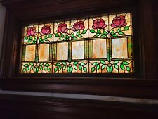 """Antique Leaded Stained Glass Window Panel 25-1/2""""x50"""" est 1909"""