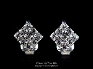 925 Sterling Silver Sparkling Swarovski Element Crystals Clip On Earrings