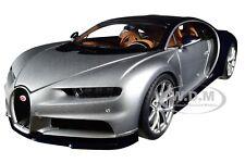 BUGATTI CHIRON ARGENT SILVER & ATLANTIC BLUE 1/18 MODEL CAR BY AUTOART 70992