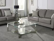 Eclipse Glass Top Coffee Table with Storage Shelf in Stainless Steel
