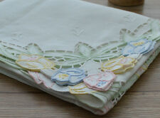 """White 36"""" Square Table Cloth Runner Topper Floral Embroidered Country Cotton"""