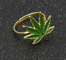 Maple Leaf Metal For Women Men Gift New Fashion Jewelry Gold Ring Size 8 Enamel