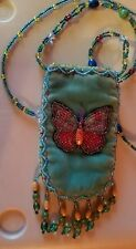 """Hand beaded butterfly front purse. Beaded strap 21"""" long. Small 4 3/4"""" long.New"""