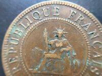 FRENCH INDO-CHINA 1 CENT Coin 1886  KM # 1