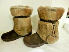Bearpaw Wms.Size 10Tama Suede/Rabbit Fur Wool Lining Sheepskin Footwear Rubber