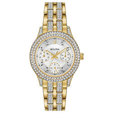 Bulova Women's 98N112 Quartz Crystal Accents Gold-Tone Bracelet 33mm Watch