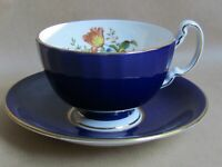AYNSLEY COBALT BLUE DRESDEN FLOWERS F HOWARD TEA CUP & SAUCER  (Ref5084)