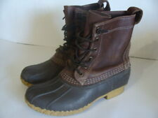 LL Bean Bean Boots Youth Size 3 Brown Leather/Rubber Duck Boots