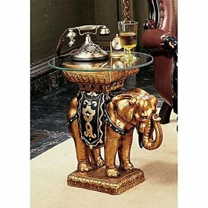 NG30585 - Maharajah Elephant Glass -Topped Sculptural Table - Hand Painted!