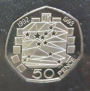 1992 Ltd Ed UK Proof Blue Case Coin Set - RARE EEC 50p, Large & Small 10p