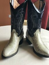 Men's Leather Cowhide Cowboy Boots. Black and white with blue trim, Size: 8.5