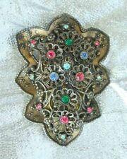 Multicolored Rhinestone Dress Clip antique New England Glass Works Edwardian