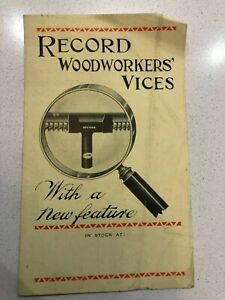 small leaflet RECORD WOODWORKERS VICES - patent screw & nut cover 52 ephemera