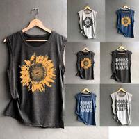 Women Sleeveless Sunflowe Letter Print Shirt Loose Tank Top Soft Comfortable Top