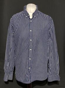 Jack Jones Men's Shirt Blue White Striped Extra Large XL Regular Long Sleeve