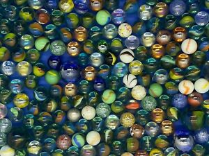 Huge lot of Marbles 288 Shooters Speckled Black Green Iridescent Cats Eye
