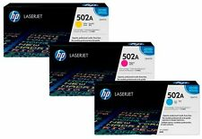 HP 502A Q6471A Q6472A Q6473A Genuine Cyan Magenta Yellow Toner Cartridge Set CMY