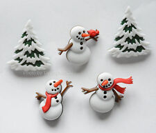 Let It Snow / Snowmen & Trees Shank Buttons / Dress It Up Holiday / Jesse James