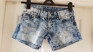 Moussy Ladies Designer Denim Cut Off Shorts In Blue Mix Colour Size 26 Uk 8
