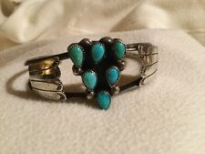 Vtg Native American Navajo Sterling Silver Turquoise Cuff Bracelet By S. Jamez