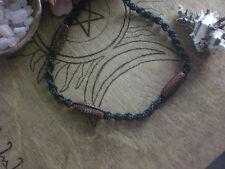 Red Beads Black Hemp Weave Macrema Necklace