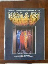 1981 NCAA Basketball Tournament Final Four Program North Carolina Indiana LSU