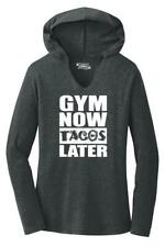 Ladies Gym Now Tacos Later Hoodie Shirt Workout Fitness Food Party