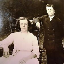 Antique 1911 Brother & Sister Dressed Up Photo Postcard RPPC High Button Shoes