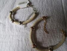 Armband Kunststoff Beige-Gold-Silber verstellbar