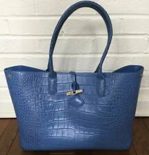 LONGCHAMP PARIS Misty Blue Croc Roseau Tote Long Handles NEW