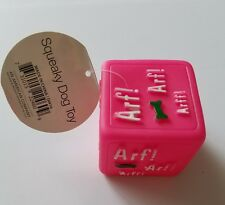 New listing Vinyl Squeaky Dog Toy Pink Cube Chew Toys Rubber Squeak New Fun Plastic